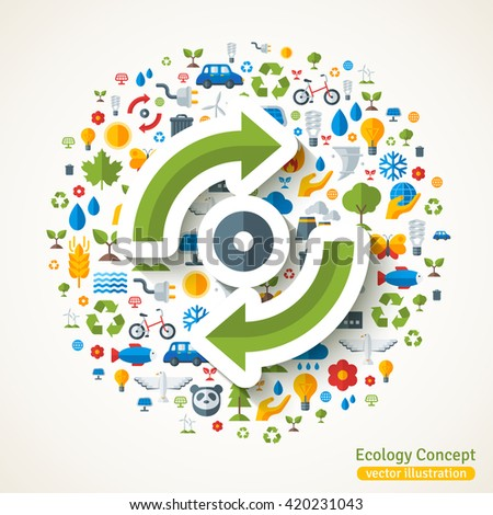 Recycle circle flat sticker. Vector concept illustration with icons of ecology, environment, green energy and pollution. Save the planet. Eco Technology. - stock vector