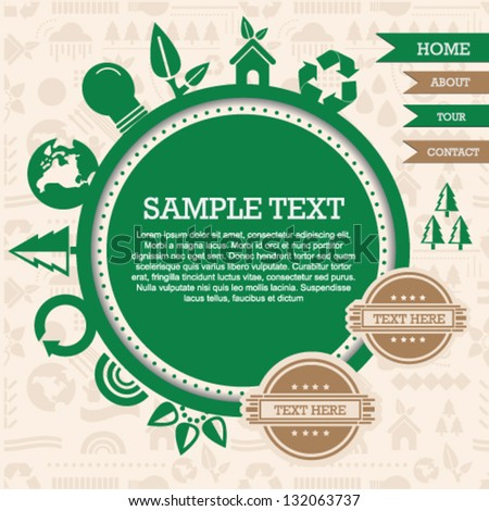 Recycle ecological green icons web site template - stock vector