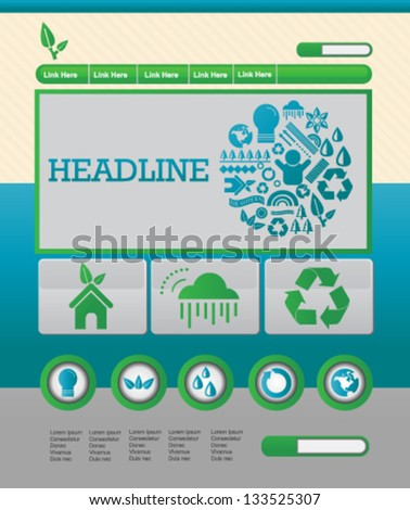 Recycle environmental website template - stock vector