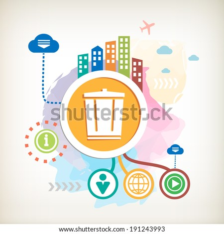 Recycle garbage can and city on abstract colorful watercolor background with different icon and elements.  - stock vector