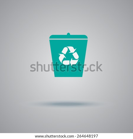 recycle, garbage, can, flat, vector, illustration - stock vector