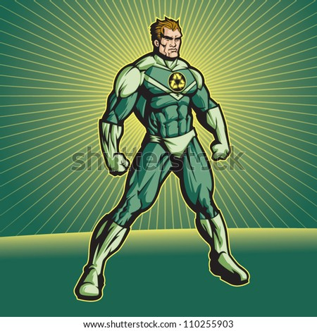 Recycle Hero (no cape). File is editable. Put your logo on his chest! - stock vector
