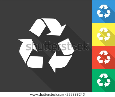 recycle icon - gray and colored (blue, yellow, red, green) vector illustration with long shadow - stock vector
