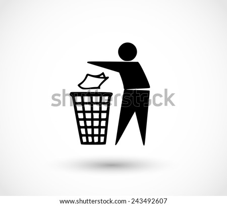 Recycle icon, man throwing trash into dust bin vector - stock vector