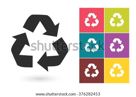 Recycle icon or drawing symbol. Element or pictogram for logo or label. Vector illustration - stock vector
