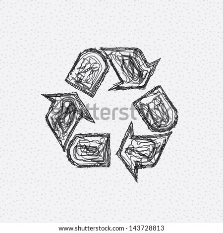 recycle icon over dotted background vector illustration - stock vector