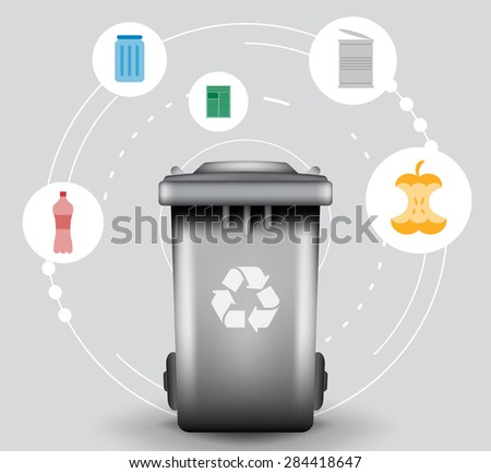 Recycle infographic with trash bin and garbage icons, vector concept - stock vector
