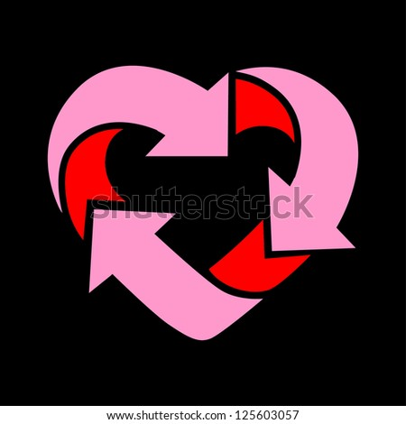 recycle make heart - stock vector