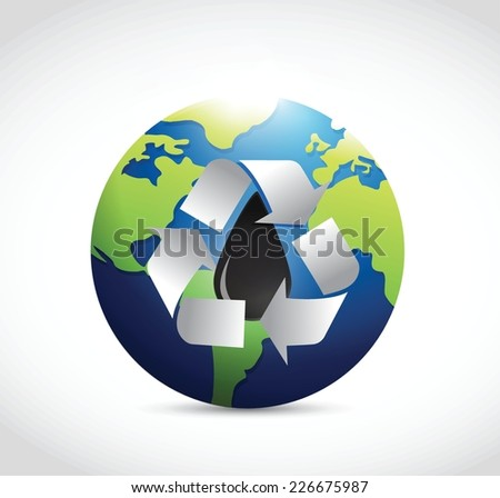 recycle oil around the globe illustration design over a white background - stock vector