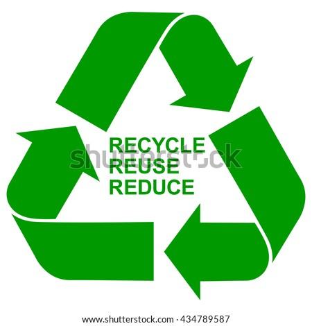 Recycle Reuse Reduce green symbol , isolated green recycling icon with green letters , accurate vector illustration - stock vector