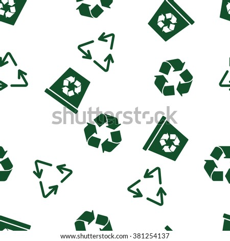 Recycle Seamless vector repeatable pattern. Style is flat symbols on a white background. - stock vector