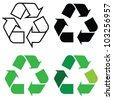 recycle sign in different format, for eco environments. - stock vector