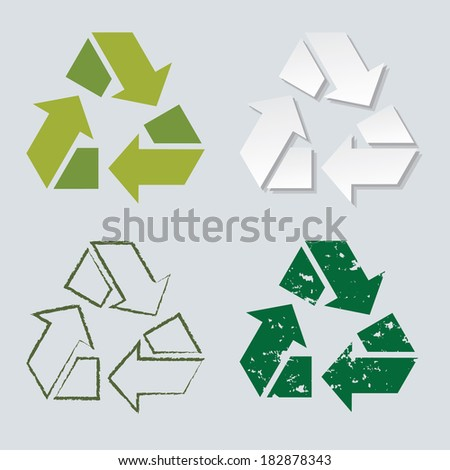 recycle sign in different format style. set collections of paper cut out, stamp, hand-drawn, graphic symbols. can use for eco environments, packaging - stock vector