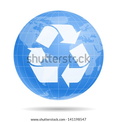 Recycle sign or symbol inside The Earth Globe - icon isolated on white background. Vector - stock vector