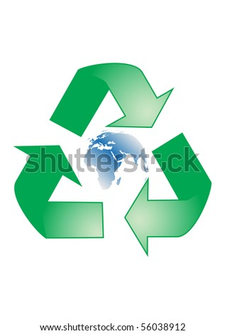 Recycle sign with blue Earth globe - stock vector