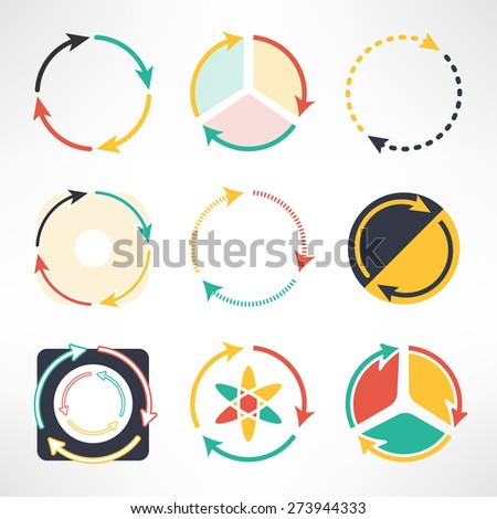 Recycle simple flat icons set. Round arrows symbols. Ecology concept. Vector illustration - stock vector