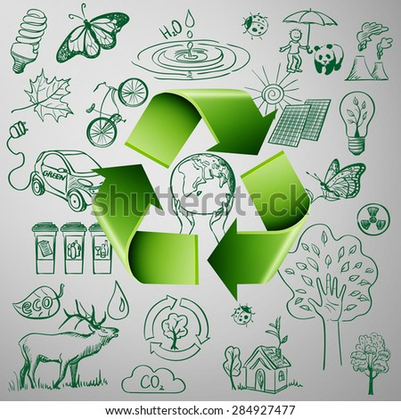 Recycle Symbol and Ecology doodle icons. Excellent vector illustration, EPS 10 - stock vector