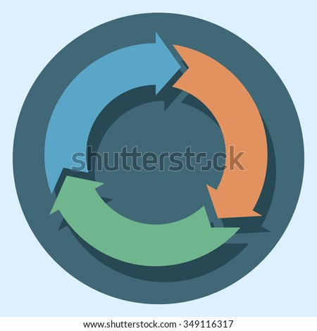 recycle symbol circle icon with shadow - stock vector