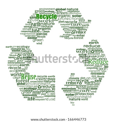 Recycle symbol created from words on white background, vector illustration - stock vector