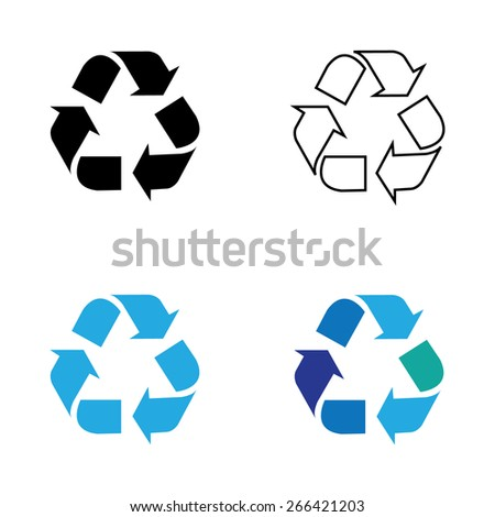 Recycle symbol or sign of conservation blue icon isolated on white background. Vector symbol on the packaging. - stock vector