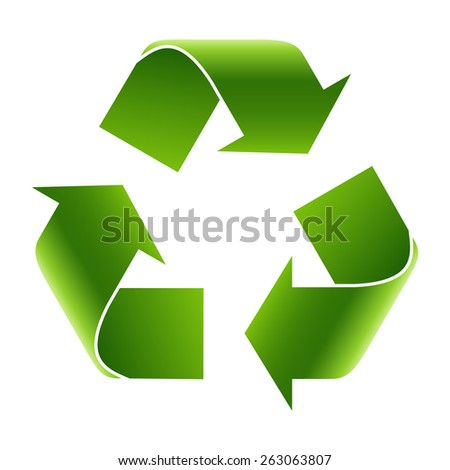 Recycle symbol or sign of conservation green icon. Vector sign - stock vector
