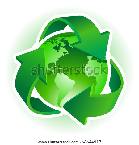 Recycle Symbol with Earth on white background. Vector illustration. - stock vector