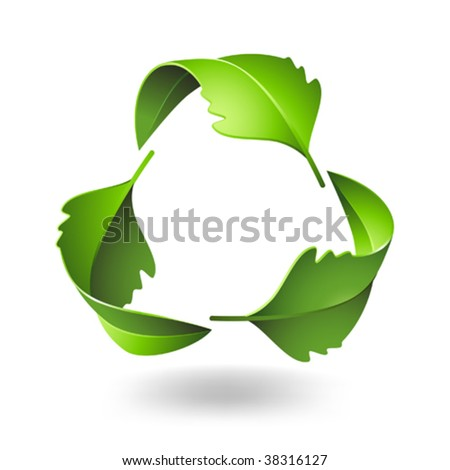 Recycle Symbol with Oak Leaves - stock vector