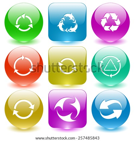 Recycle symbols set. Vector set glass buttons. - stock vector