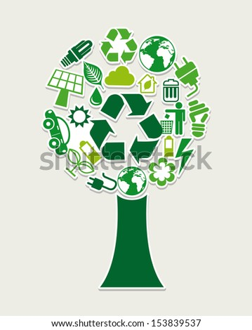 recycle tree  over gray background vector illustration  - stock vector