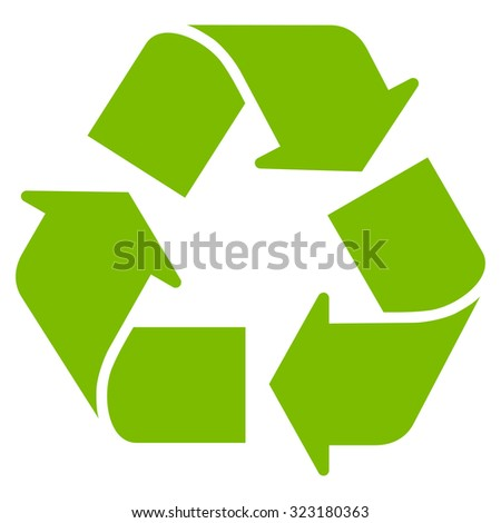 Recycle vector icon. Style is flat symbol, eco green color, rounded angles, white background. - stock vector