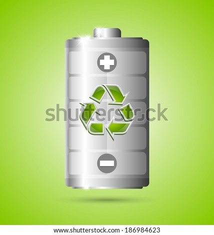 Recycled energy battery icon on green background - stock vector