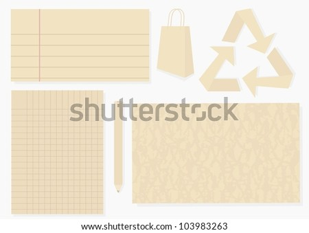 recycled paper design elements - stock vector