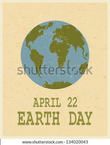 Recycled paper Earth Day poster. - stock vector