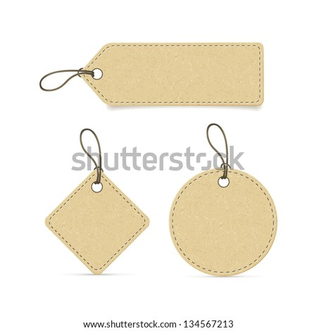 recycled paper label set on white - stock vector