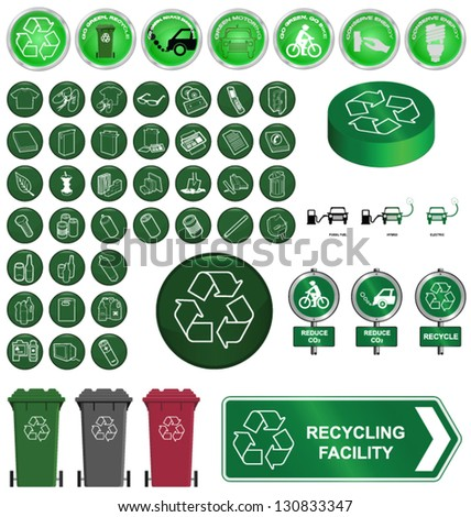 Recycling and environment collection isolated on white background - stock vector