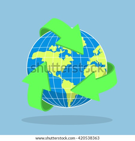Recycling arrow symbol and planet Earth, ecology, recycle concept, VECTOR, EPS10 - stock vector