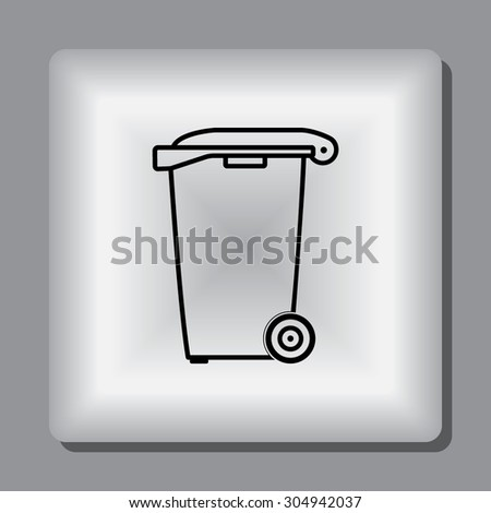 Recycling bin sign icon, vector illustration. Flat design style - stock vector