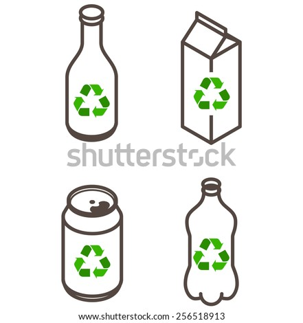 Recycling icons - glass bottle, paper carton, soda drink can, PET bottle.  - stock vector