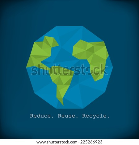 Recycling info graphics - modern polygonal element paper earth minimalist design - stock vector