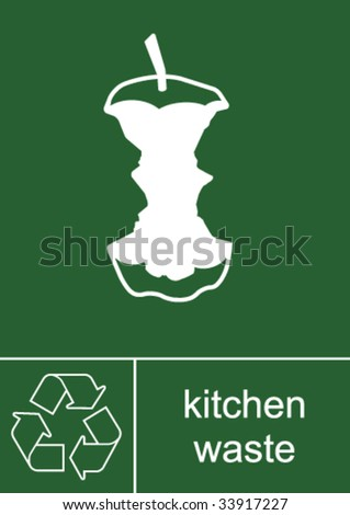 Recycling Sign Kitchen Waste - stock vector