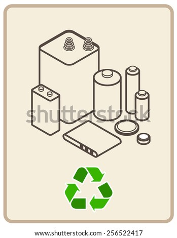 Recycling sign with an arrangement of dry cell alkaline and lithium batteries.  - stock vector