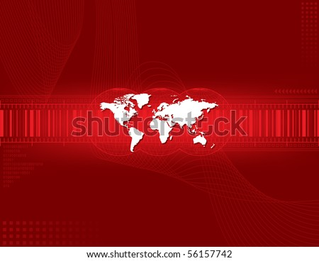 Red abstract background and world map - stock vector