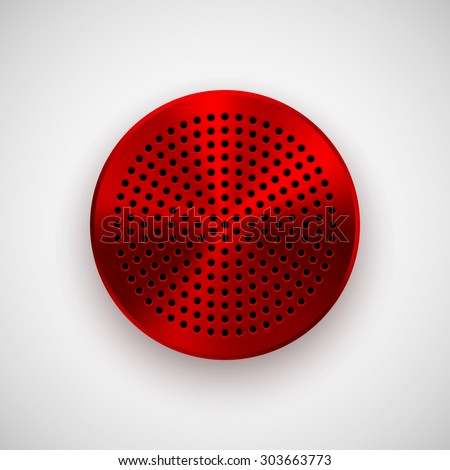 Red abstract circle badge, audio button template with circle perforated speaker grill pattern, metal texture (chrome, steel, copper), realistic shadow and light background. Vector illustration. - stock vector