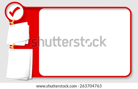 Red abstract frame for your text with check box and  papers for remark - stock vector