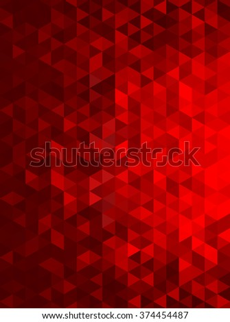 Red Abstract Geometric Triangle Vertical Background - Vector Illustration Abstract Polygon Vector Pattern - Portrait Orientation  - stock vector