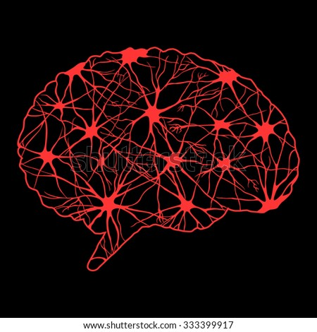 Red abstract human brain - stock vector