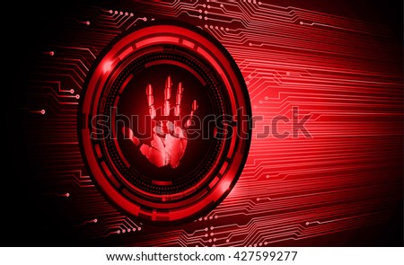 red abstract light hi speed internet technology background, Background conceptual image of digital. Cyber security concept. Cyber digital Technology.fingerprint. Finger-print scanning. Hand print. - stock vector