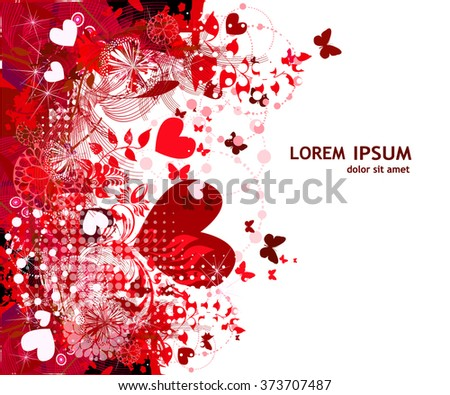 red Abstraction with hearts. Vector - stock vector