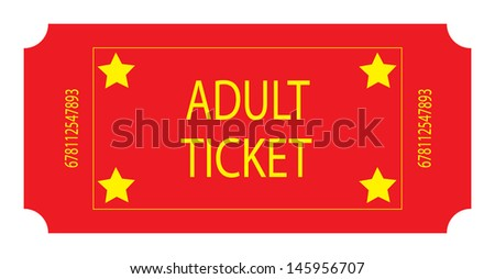 Red Adult Ticket. Vector - stock vector