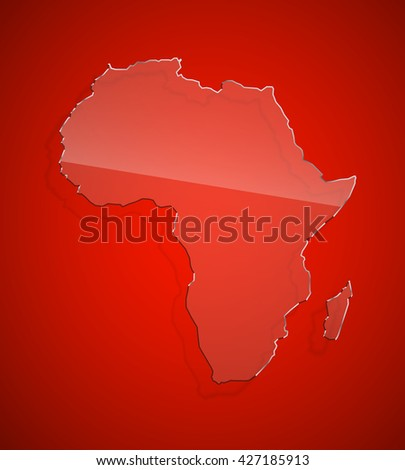 Red African continent icon Image. Africa background Picture. Vector Silhouette - stock vector